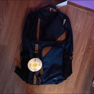 Navy Blue and Brown Swiss Tech Backpack